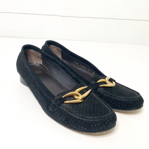 Suede Loafers Gold Buckle   Poshmark